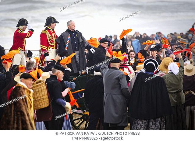 Dutch actor Huub Stapel dressed up as Prince Willem Frederik, who later became king William I, performs during the reenactment of the historic landing on the...