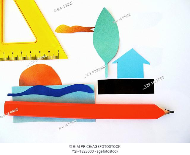 paper cut out landscape with red pencil and set square