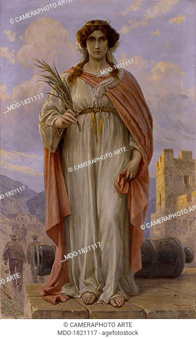 Saint Barbara, by Achille Beltrame, 20th century, oil on canvas, 225 x 138 cm. Italy, Veneto, Rivamonte Agordino, Parish church. Whole artwork view