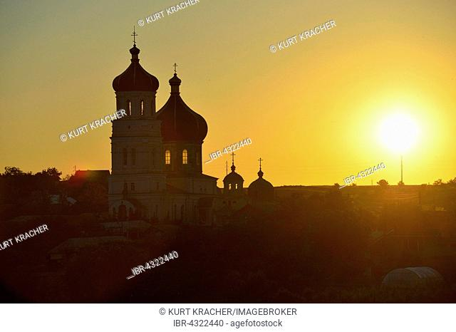 Sfantul Dimitrie cel Nou church at sunrise, Harsova, Romania