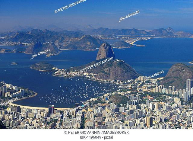 View of the city and Sugar Loaf Mountain, Corcovado, Rio de Janeiro, Brazil