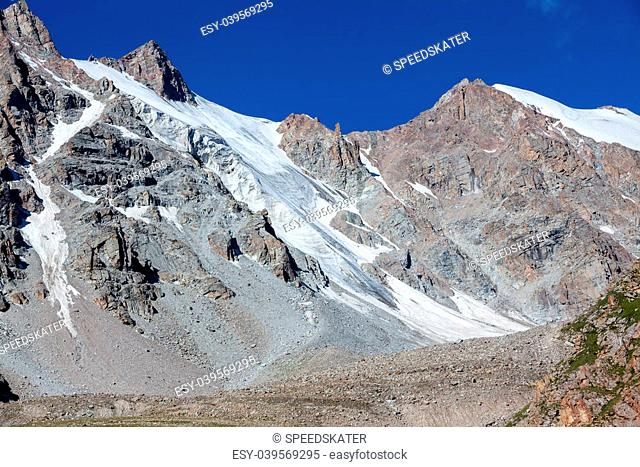 Ice slopes of mountains. Kyrgyzstan. Tien Shan