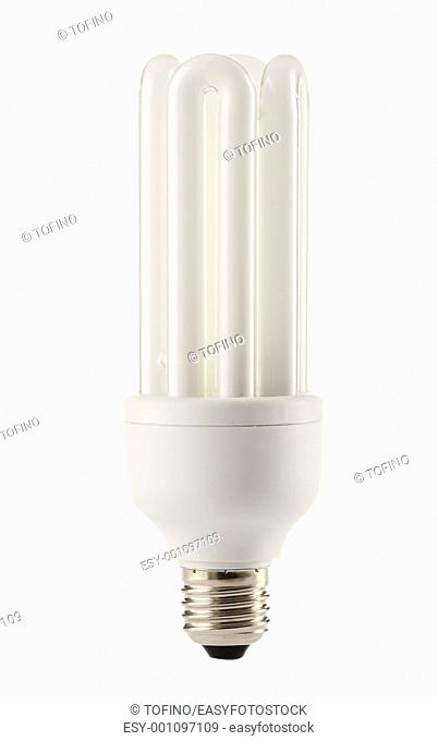 Compact fluorescent lamp isolated on white  Energy saving light bulb