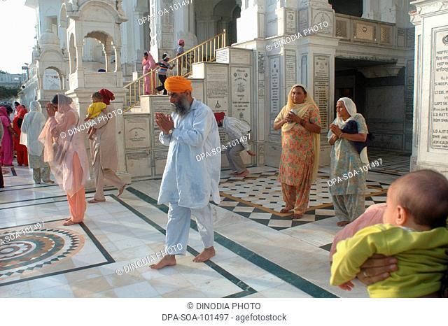 Sikh praying at golden temple ; Amritsar ; Punjab ; India