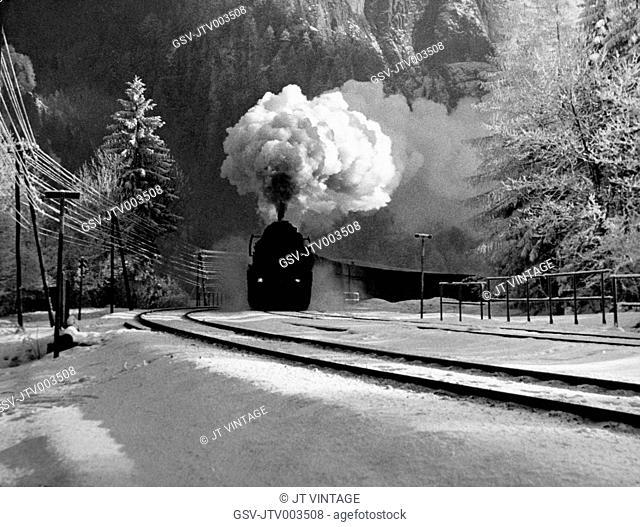 Steam Engine Train in Winter, Switzerland, 1950