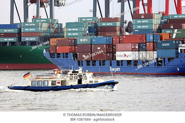 Containers being loaded on a ship in the port of Hamburg, view from the port, Hamburg, Germany, Europe