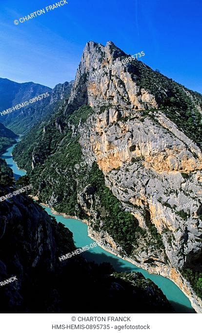 France, Alpes de Hautes Provence, Gorges du Verdon, Moustiers Sainte Marie, exit of the Gorges in the lac de Sainte Croix, from the Galetas belvedere