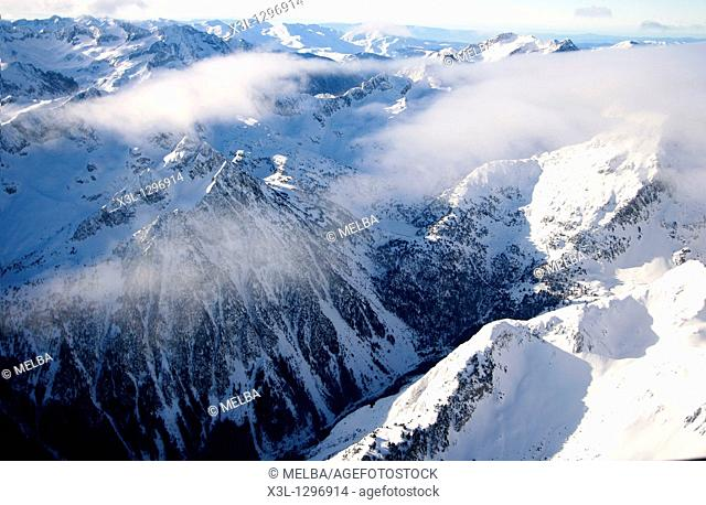 Aerial view of Cirque of Colomers from Aran Valley  Pyrenees  Lleida province, Catalonia, Spain
