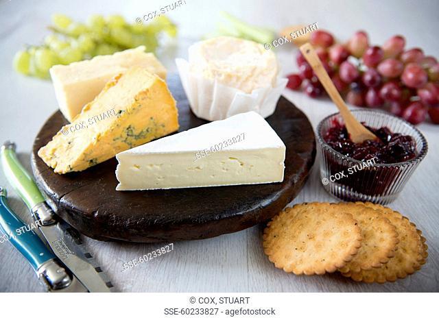 Cheeseboard,black cherry jam, fruit and crackers