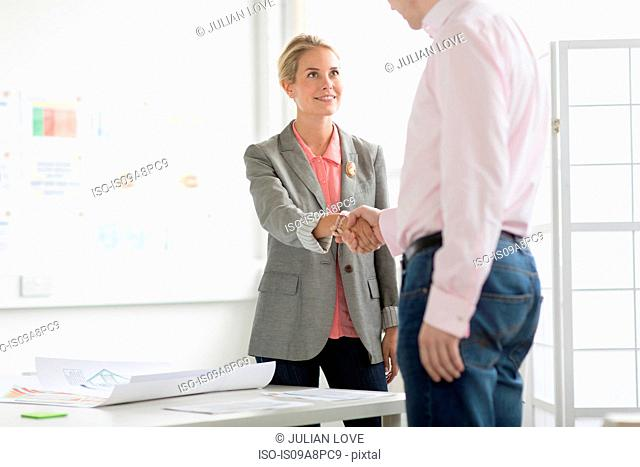 Businesswoman shaking hands with man in office
