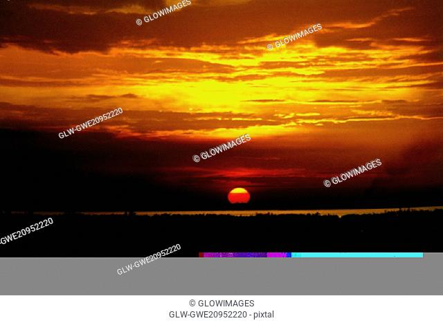 Silhouette of a landscape at sunset