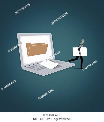 Burglar stealing file from laptop computer screen folder