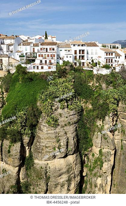 White Town high above the river gorge El Tajo, Ronda, Malaga province, Andalusia, Spain