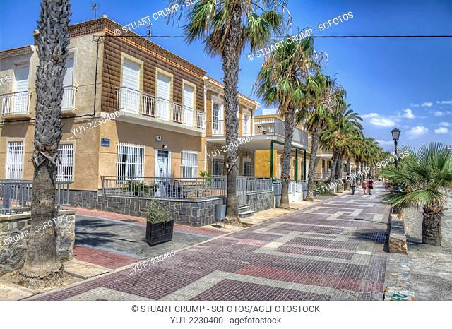 HDR of the houses on the promenade at Los Alcazares, Mar Menor, Murcia, Spain, Europe