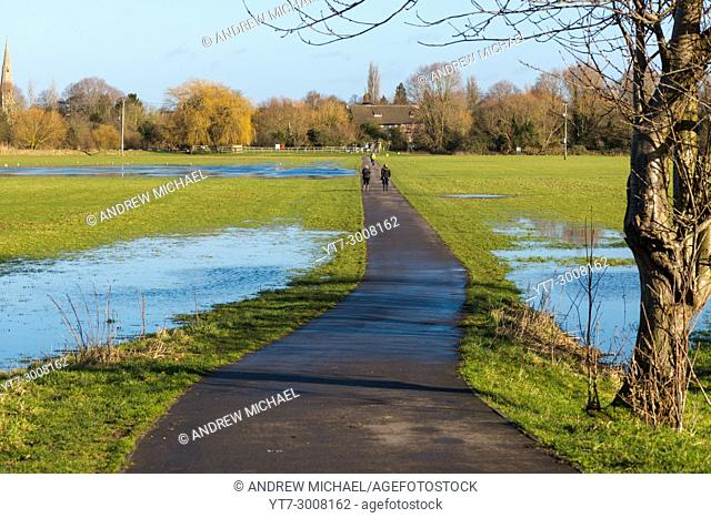 Flooded meadow linking Houghton and Hemingford Abbots villages, Cambridgeshire, England, UK