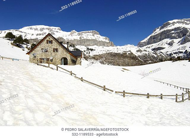 winter view from mountain lodge Lizara in Aragues del Puerto, Pyrenees, Huesca, Aragon, Spain