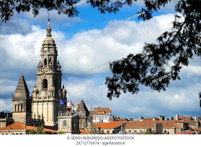 Cathedral and Old Town, Santiago de Compostela, UNESCO World Heritage Site, Galicia, Spain. The last stop of the Transcantabrico Gran Lujo luxury train