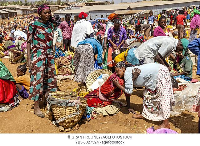 Local Women Greeting Each Other At The Famous Saturday Market In The Dorze Village Of Chencha, High Up In The Guge Mountains, Gamo Gofa Zone, Ethiopia