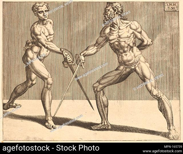 Two Fencers, from Fencers, plate 5. Series/Portfolio: Fencers; Artist: Dirk Volckertsz Coornhert (Netherlandish, Amsterdam 1519/22-1590 Gouda); Artist: After...