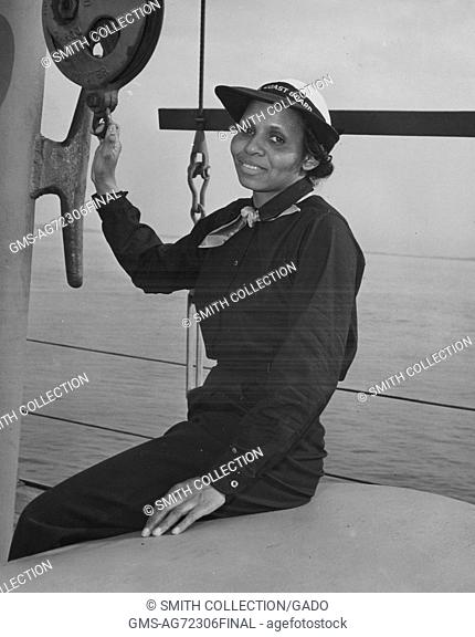 A photographic portrait of Olivia Hooker in her uniform, in 1945 she became the first African-American woman to join the United States Coast Guard, Brooklyn