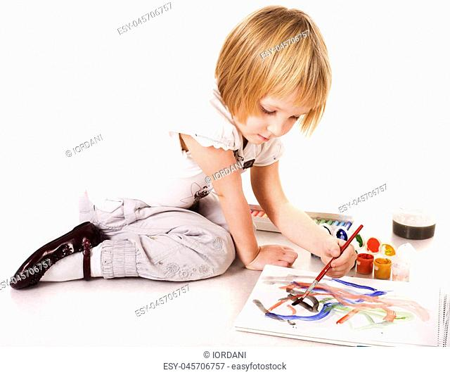 cute little girl painting isolayed on white background, lifestyle people concept close up