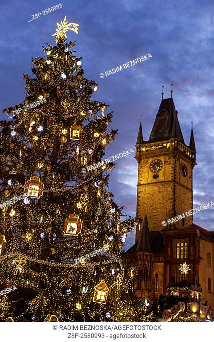 Traditional Christmas markets in Old Town Square. Prague, Czech Republic