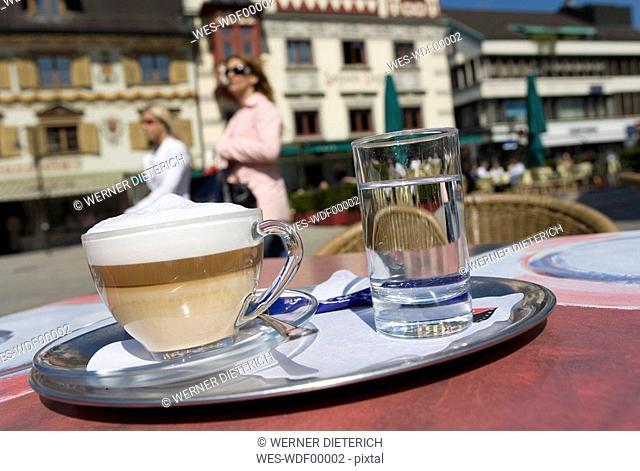 Austria, Vorarlberg, Dornbirn, Latte macchiato