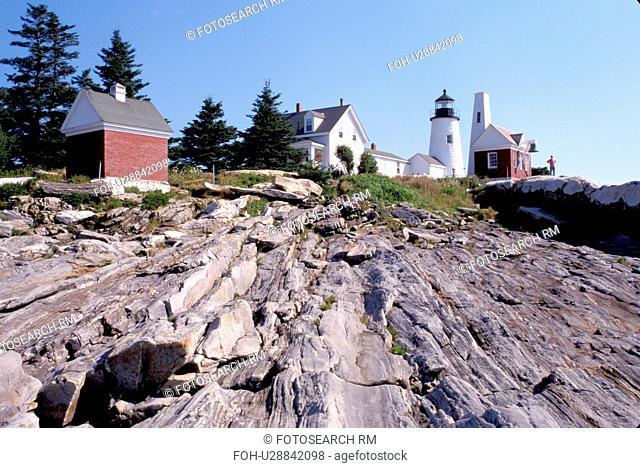 lighthouse, Maine, Pemaquid Point, Bristol, ME, Pemaquid Head Light along the rocky coast of the Atlantic Ocean