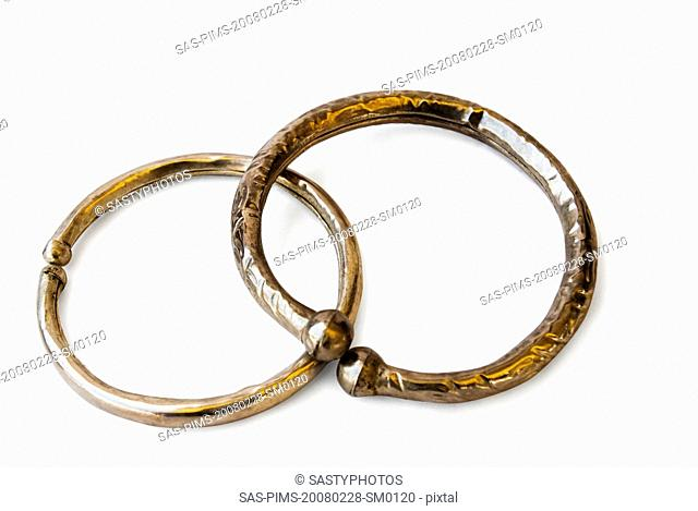 Close-up of antique bangles