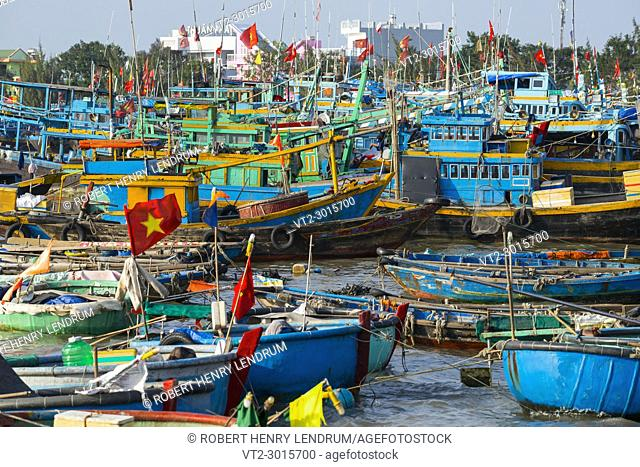 Traditional wooden fishing boats in the port city of PhanThiet, Vietnam