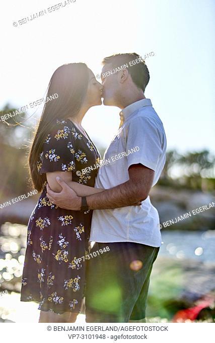 Greece, Crete, Hersonissos, couple, kissing