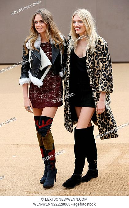 London Fashion Week Autumn/Winter 2015 - Burberry Prorsum - Arrivals Featuring: Cara Delevingne, Lily Donaldson Where: London
