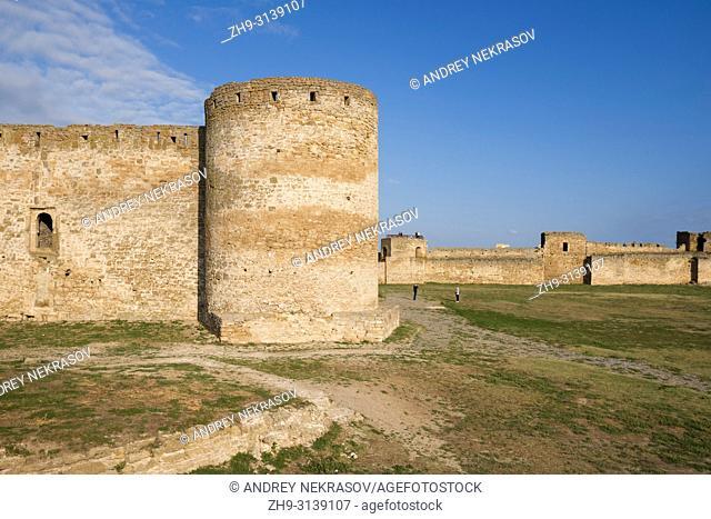 Unassailable defensive walls and towerh of Fortress Akkerman (White Rock fortress). Belgorod-Dnestrovskiy, Odessa Oblast, Ukraine