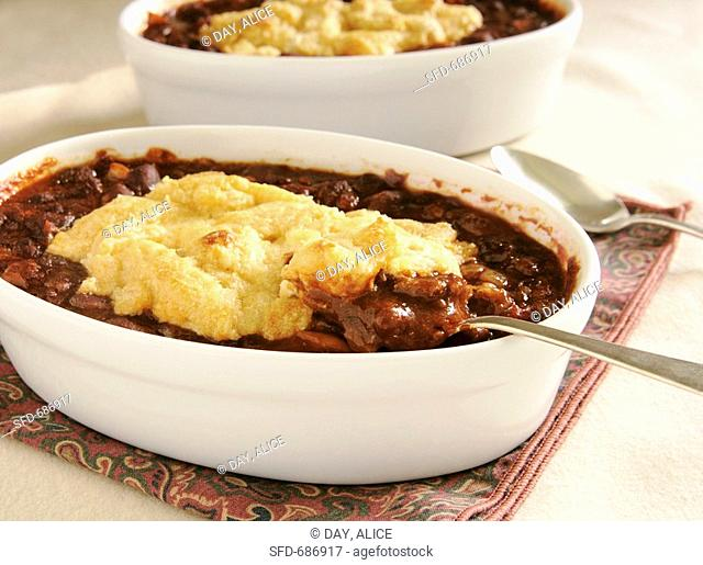Two Bowls of Chilli Cobbler, Chili with Biscuit Topping