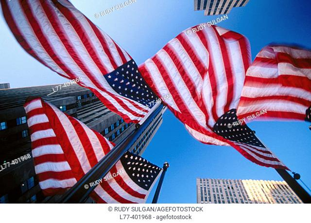 American flags and Rockefeller Center, New York City. USA