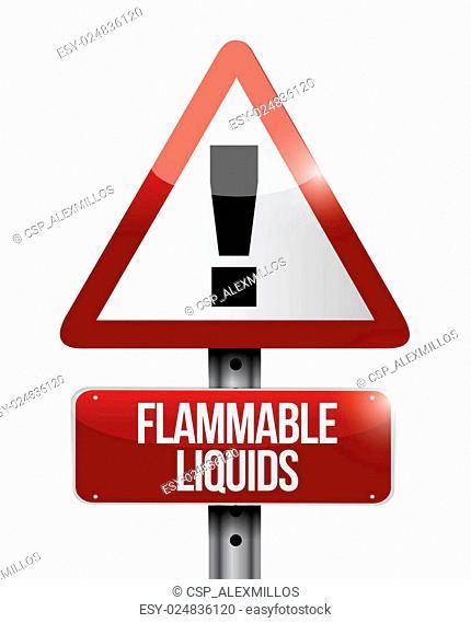 flammable liquids warning road sign illustration
