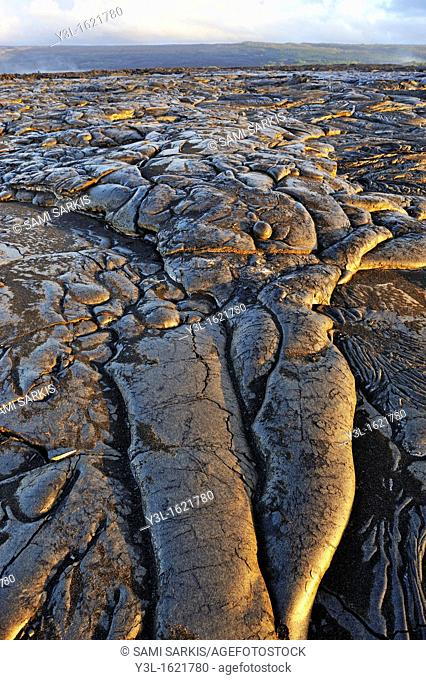Cooled pahoehoe lava flow, Kilauea Volcano, Big Island, Hawaii Islands, USA