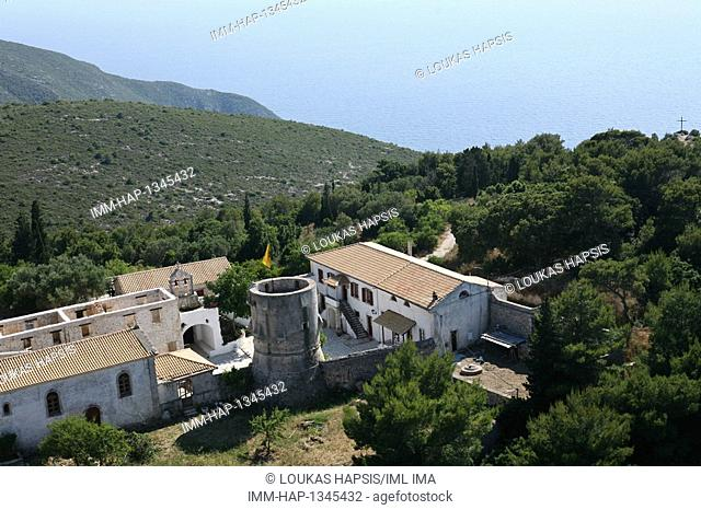 Aerial view of St. George's Monastary near Navagio. Zakynthos, Ionian Islands, Greece, Europe