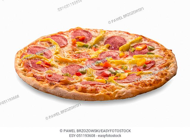 Pizza isolated on white background. For fast food restaurant design or fast food menu