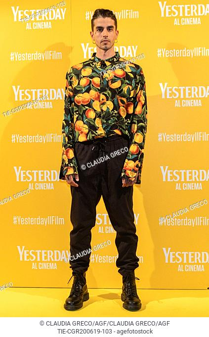 Andrea Molteni art name Axos during the photocall of film ' Yesterday ' in Milan, ITALY-20-06-2019