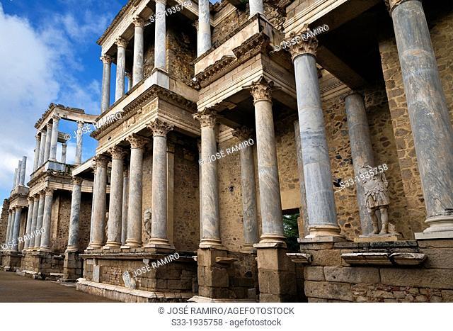 Roman Theater ruins in Merida. Badajoz. Extremadura. Spain