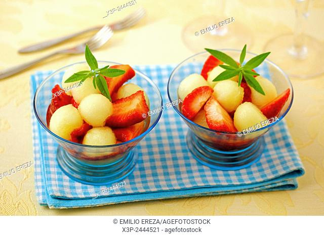 Strawberries and melon with light infusion