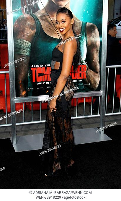 Tomb Raider Los Angeles Premiere held at the TCL Chinese Theatre in Hollywood, California. Featuring: Nafessa Williams Where: Los Angeles, California