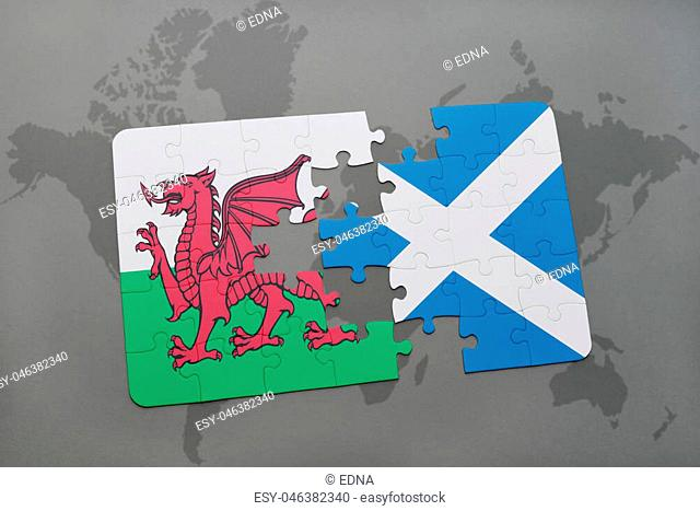 puzzle with the national flag of wales and scotland on a world map background. 3D illustration