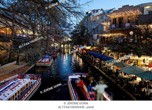 The San Antonio River Walk in San Antonio, Texas, USA