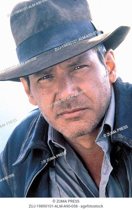 1989; Indiana Jones And The Last Crusade. Original Film Title: Indiana Jones And The Last Crusade, PICTURED: HARRISON FORD, Composer: John Williams
