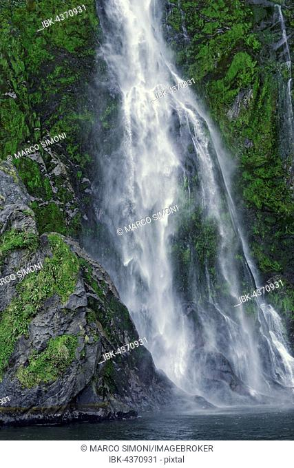 Waterfall, Milford Sound, Fiordland National Park, South Island, Southland, New Zealand