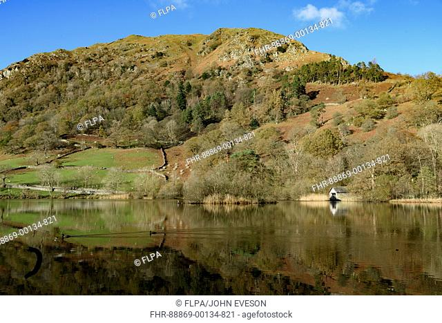 Colours of autumn as the last of the leaves fall at Rydal Water in the Lake District on a beautiful sunny day