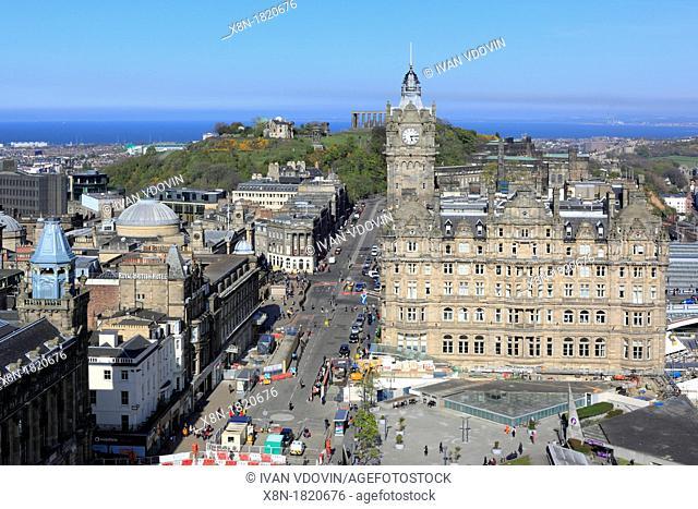 Balmoral Hotel, view from Scott Monument, Edinburgh, Scotland, UK