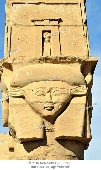 Hathor-headed column of Kiosk of Qertassi or Kertassi at ancient Nubian temple of Kalabsha, Mandulis, on Lake Nasser near Aswan, Egypt, North Africa